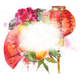 Watercolor Background Chinese New Year Element Stock Images