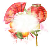 Watercolor Background Chinese New Year Element Stock Photos