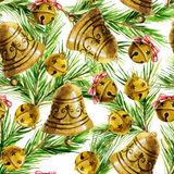 Watercolor background with Christmas bell decoration Royalty Free Stock Photo