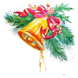 Watercolor background with Christmas bell Stock Photos