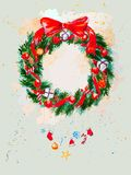 Watercolor background with Christmas garland Stock Photography