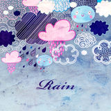 Watercolor background with clouds and rain Stock Photo