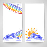Watercolor background with clouds, sun and rainbow. Summer. Vector royalty free illustration