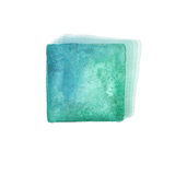 Watercolor background with colorful blue and turquoise squares. Royalty Free Stock Image