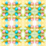 Watercolor background with colorful rainbow eggs. Seamless pattern Royalty Free Stock Images