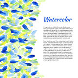Watercolor background with colorful spots. Abstract summer background. Vector  template Royalty Free Stock Photos