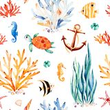 Watercolor background with cute turtle,seahorse,coral reef,seaweed,anchor. Royalty Free Stock Photos