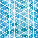 Seamless light blue triangular pattern. Watercolor background. 2d hand drawn seamless pattern with light blue green triangular mosaic. Marine colorful ornament Royalty Free Stock Images
