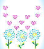 Watercolor background with daisies and hearts. Stock Images