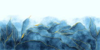 Free Watercolor Background Drawn By Brush. Blue Paints Spilled On Paper. Golden Shiny Veins And Cracked Marble Texture Stock Photography - 184334592