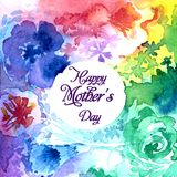 Happy Mother`s Day lettering on a watercolor background. royalty free illustration