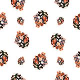 Watercolor background fir cones. Seamless pattern on white background. Watercolor background fir cones. Seamless pattern on white Stock Photography