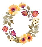 Watercolor Background With Floral Wreath Stock Photos