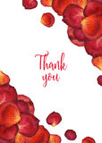 Watercolor background of flower rose petals with world thank you. Red watercolour floral frame, hand painted illustration for greeting card, invitation Stock Photos