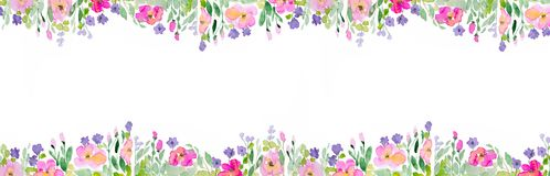 Watercolor Background With Flowers stock image