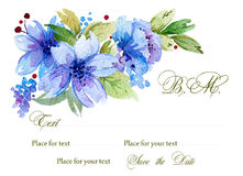 Watercolor background with flowers and leaves. Royalty Free Stock Photo