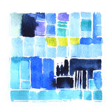 Watercolor background. With geometric pattern Royalty Free Stock Image
