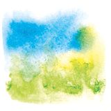 Watercolor background. With greeen, blue and yellow colors Royalty Free Stock Image