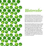 Watercolor background with green circles. Abstract retro background. Vector watercolor for brochure, banner Stock Photos