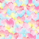 Watercolor background with hearts. Watercolor background with hearts in pastel tender colors. Useful for wedding invitations, greeting cards, scrapbook Stock Images