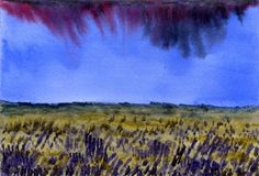 Watercolor background. High cloudy sky over the flowering field. Rainy day Stock Photography