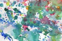 Watercolor background illustration blots and drops on a white background stock illustration