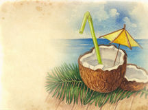 Watercolor background with illustration of coconut cocktail Royalty Free Stock Image