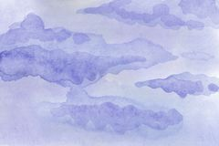 Watercolor background illustration. Watercolor gentle cloud on the sky. Watercolor hand-painted background illustration. Watercolor gentle cloud on the sky vector illustration