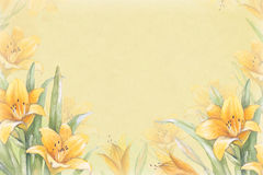 Watercolor background with illustration of lily flower Stock Photography