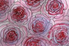 Watercolor background illustration. Watercolor pink-red blurry roses vector illustration