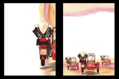 Watercolor background with the image of a motorcycle with stroller, A4 format, hand drawing, form template. Watercolor background with the image of a motorcycle royalty free illustration