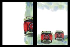Watercolor background with the image of a retro car, A4 format, hand drawing, form template. Watercolor background with the image of a retro car in shades of red stock illustration
