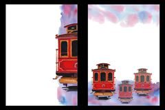 Watercolor background with the image of a tram car, A4 format, hand drawing, form template. Watercolor background with the image of a tram car in shades of red vector illustration