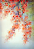 Watercolor background in Japanese style. Flowering branches Stock Images
