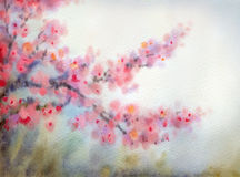 Watercolor background in Japanese style. Flowering branches Royalty Free Stock Images