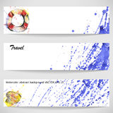 Watercolor background with a lifeline, seashell and waves. Royalty Free Stock Images
