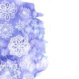 Watercolor background of lilac with white snowflakes. For New Year and christmas for decoration and design on white background,for decor and design of postcards royalty free illustration