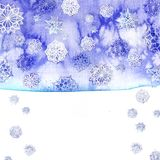 Watercolor background of lilac with white snowflakes. For new year and christmas, oblong with snowflakes, it`s snowing, for decoration and design on white Stock Images