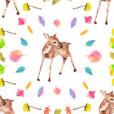 Watercolor background with little deer Stock Images