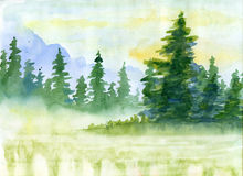 Watercolor background with mountains in fog. Watercolor background with fir-tree and mountains in fog Stock Photography