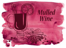 Watercolor background with mulled wine Royalty Free Stock Images