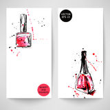 Watercolor background with nail polish. Fashion illustration. Vector Royalty Free Stock Images