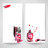 Watercolor background with nail polish. Fashion illustration. Vector Stock Illustration