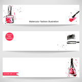 Watercolor background with nail polish and mascara. Fashion illustration Stock Photo