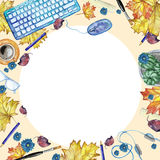Watercolor background with objects for study and knowledge top view Royalty Free Stock Photography