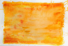 Watercolor Background in Orange Stock Photo