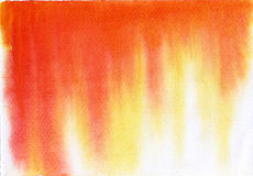 Watercolor background orange red yellow. On paper Royalty Free Stock Images