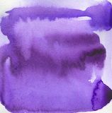 Watercolor background with paint purple drips. Ultra violet abstract watercolour shape used for magazine, book, poster, card, cover or web pages. Technique on Stock Photography