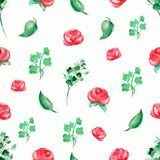Watercolor background pattern with red roses and twigs. Seamless background pattern with roses and flowers. Watercolor hand drawn illustration Stock Photos