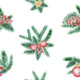 Watercolor background pattern with spruce branches, bow, ball,. Watercolor seamless background pattern with spruce branches, bow, ball, heart and berries Royalty Free Stock Photography